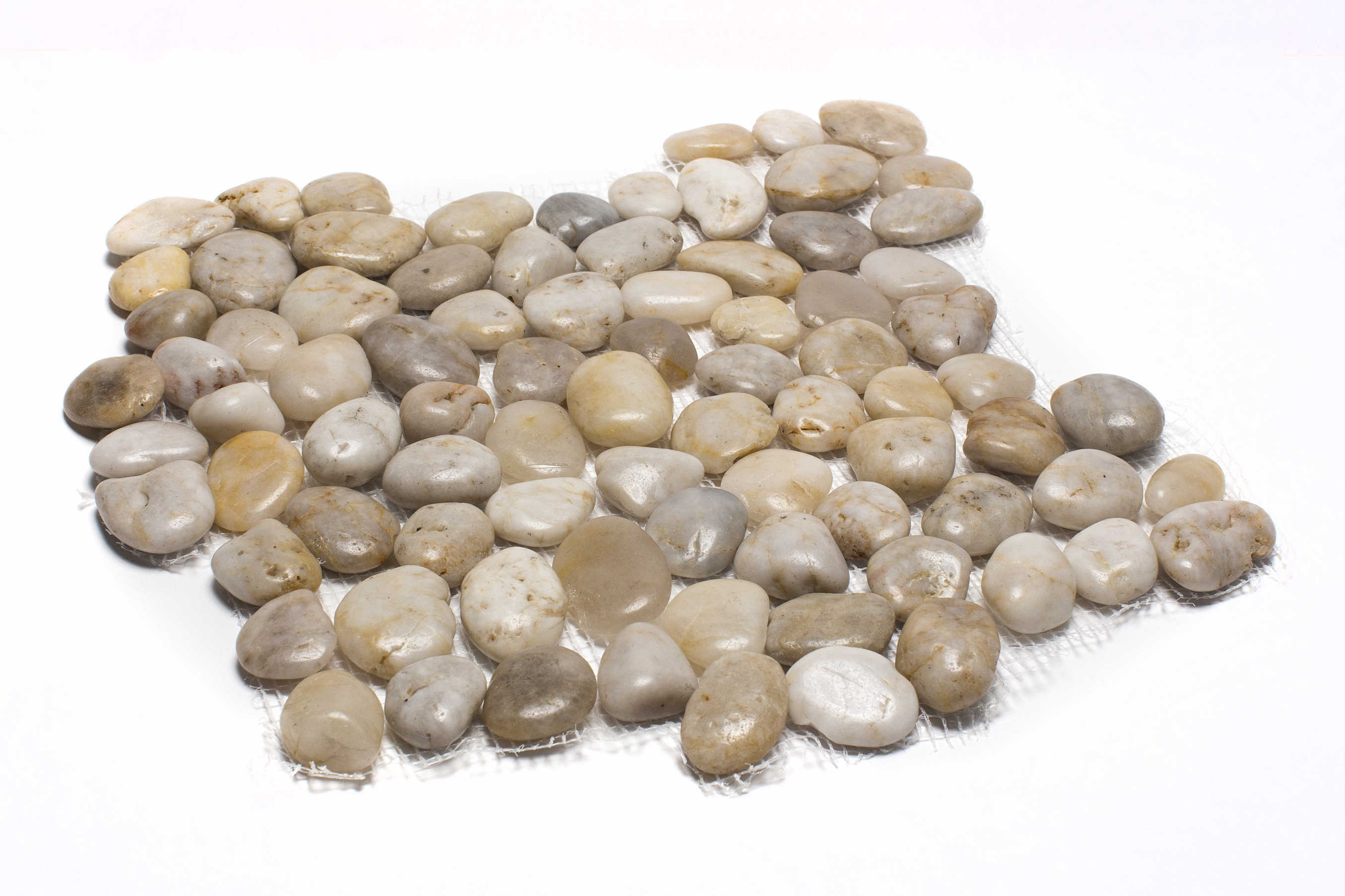 Rainforest White Mid-Polish Pebble Stone Floor and Wall Tile 12 in. x 12 in. (5.0 sq. ft. / case)