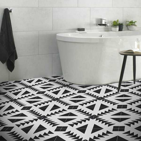 Tadla in Black and White Handmade 8x8-in Moroccan Tiles (Pack 12)