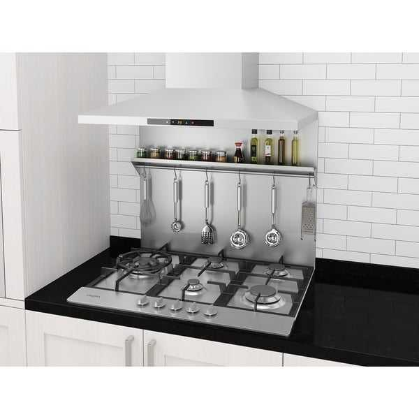 Ancona 30 in. Stainless Steel Backsplash with Stainless Steel Shelf