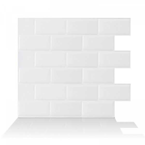 Subway White 10.95 in. x 9.70 in. Peel and Stick Self-Adhesive Decorative Mosaic Wall Tile Backsplash (4-Pack)