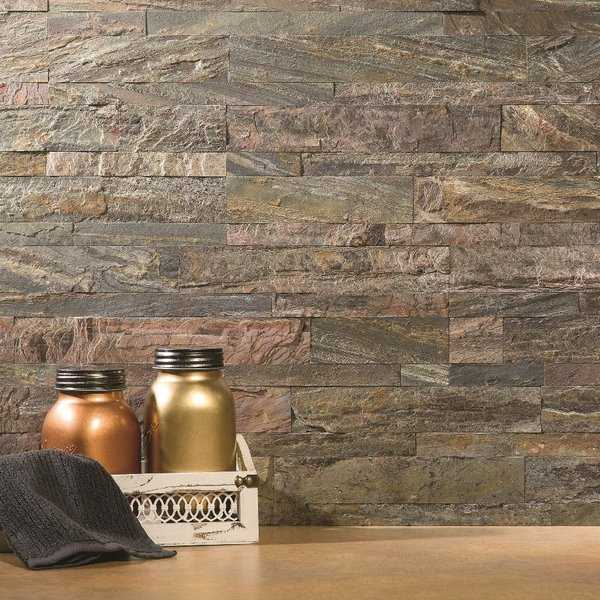 Aspect 6x24' Weathered Quartz Peel and Stick Stone Backsplash Kit (16 panels/15 sqft.)
