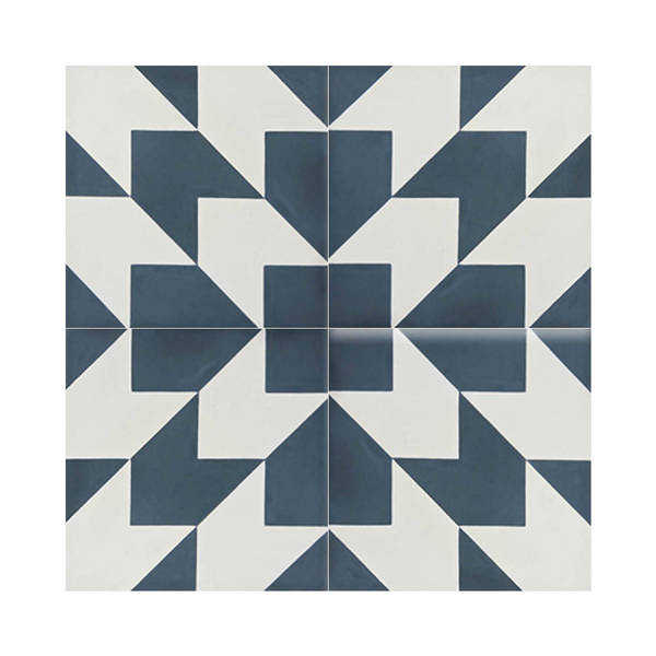 Oujda in Blue and White Handmade 8x8-in Moroccan Tiles (Pack 12)