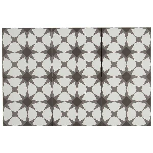 Hand-Made Encaustic Look 8X8 Starbrite White & Black Decorative Blend