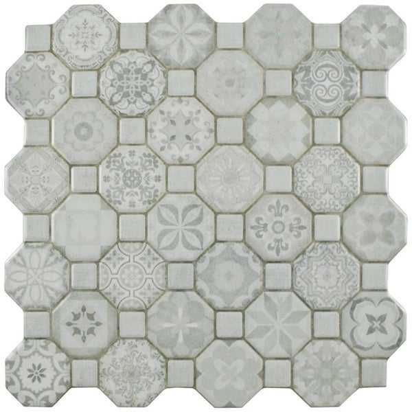 SomerTile 12.25x12.25-inch Tesseract White Ceramic Floor and Wall Tile (13 tiles/14.11 sqft.)