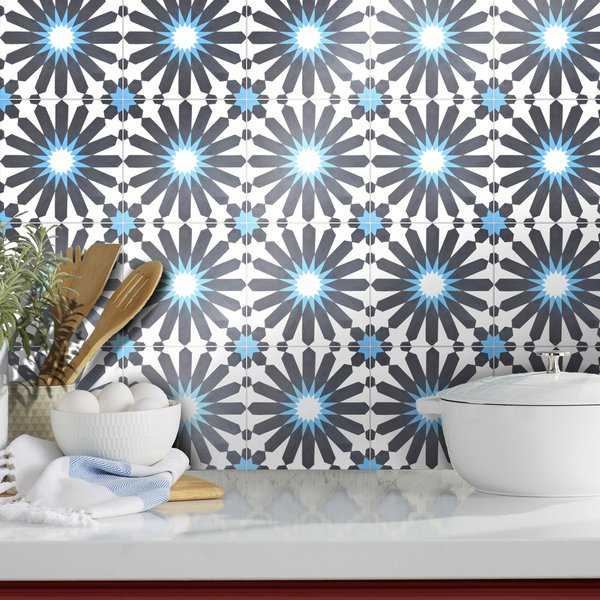 Alhambra in Black and Blue Handmade 8x8-in Moroccan Tiles (Pack 12)