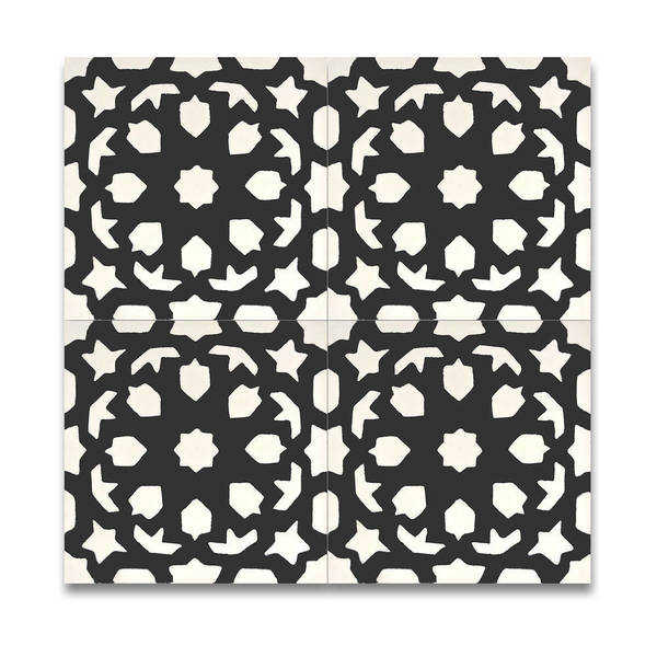 Fes in Black and White Handmade 8x8-inch Moroccan Tile (Pack of 12)