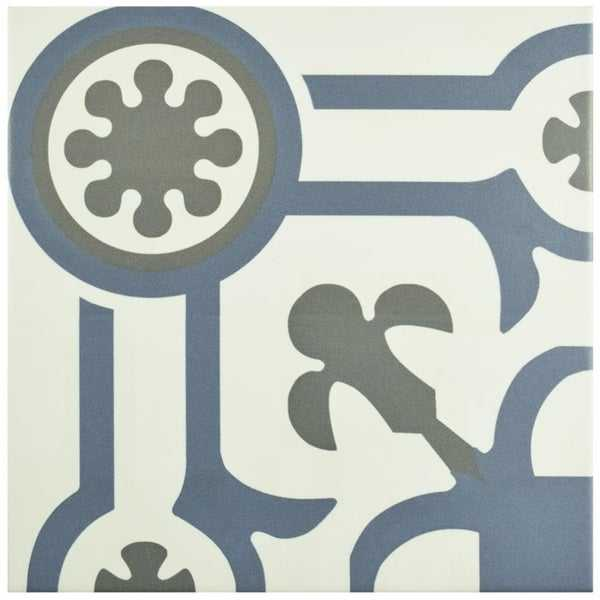 SomerTile 9.75x9.75-inch Hidraulic Ducados Angulo Porcelain Floor and Wall Tile
