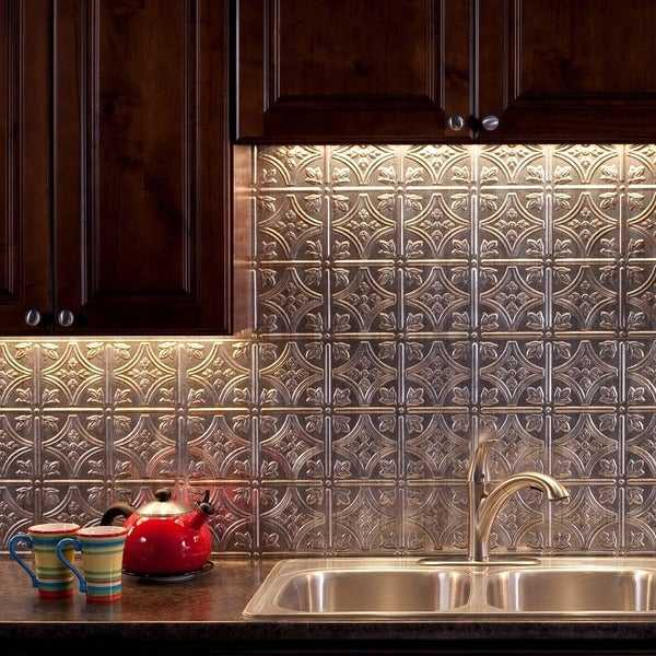 Fasade Traditional Style #1 Crosshatch Silver 18-square Foot Backsplash Kit