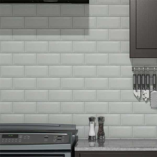 SomerTile 3x6-inch Islay Craquelle Biselado Blanco Ceramic Wall Tile (88 tiles/12.41 sqft.)