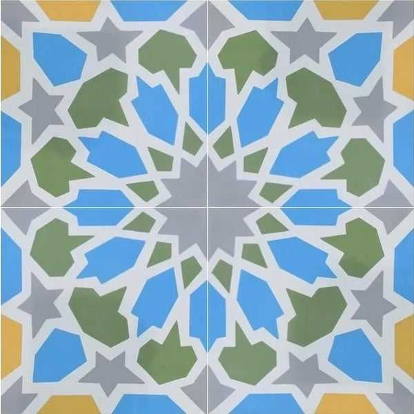 Bahja in Blue, Green, Yellow Handmade 8x8in. Moroccan Tile (Pack 12)