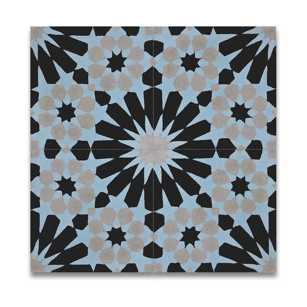 Agdal in Black, Blue, Grey Handmade 8x8-in Moroccan Tile(Pack 12)