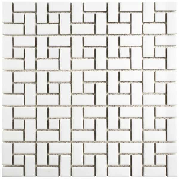 SomerTile 12.5x12.5-inch Spiral Matte White and Glossy White Porcelain Mosaic Floor and Wall Tile (10 tiles/11.07 sqft.)