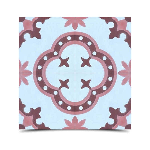 Kasba in Pink and Brown Handmade 8x8-in Moroccan Tile (Pack 12)