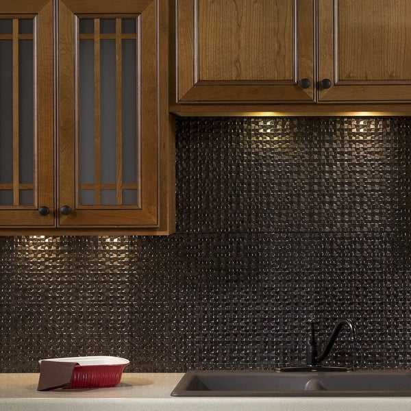 Fasade Terrain Smoked Pewter Backsplash 18 square feet kit
