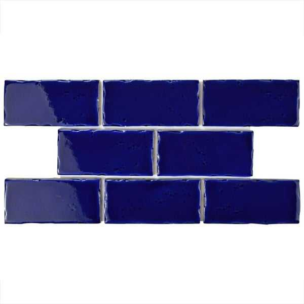 SomerTile 2.5x5.125-inch Nove Cobalto Subway Ceramic Wall Tile (60 tiles/6.16 sqft.)