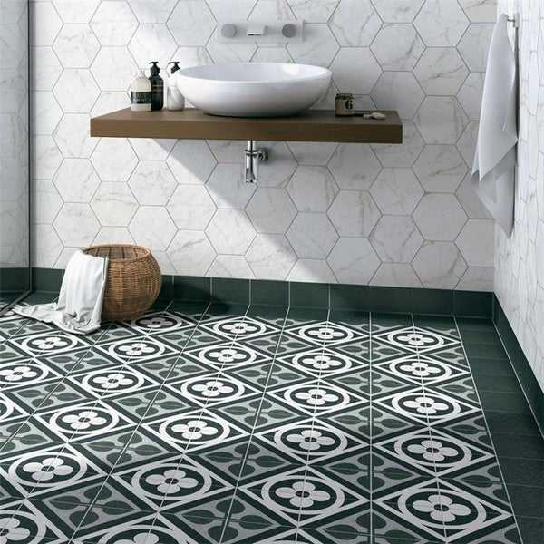 SomerTile 6x6-inch Zona Flower Black Porcelain Floor and Wall Tile (44 tiles/11.94 sqft.)