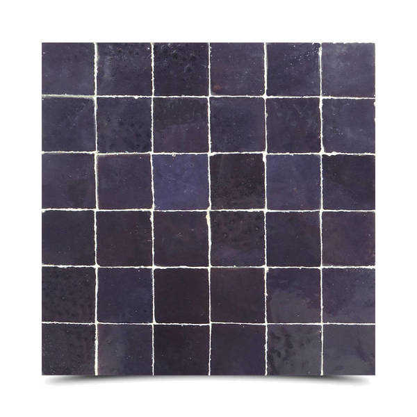 Moroccan Handmade Mosaic Tile(Zellig) Solid Purple, 12x12-in(Pack 6)