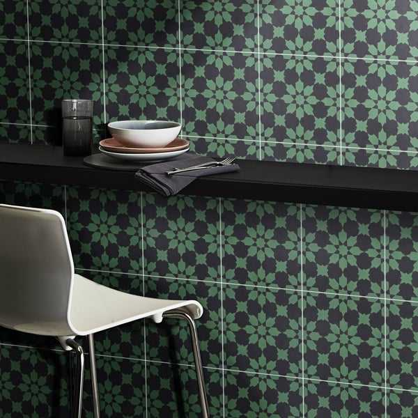 Ahfir in Green and Black Handmade 8x8-in Moroccan Tile, Pack of 12