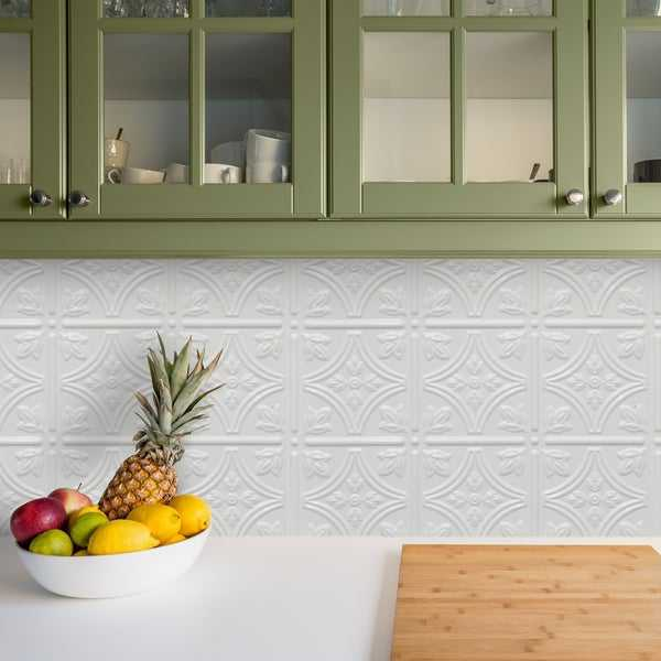 Innovera Decor by Palram Empire Snow White 18.5-in. x 24.3-in. Backsplash Panel