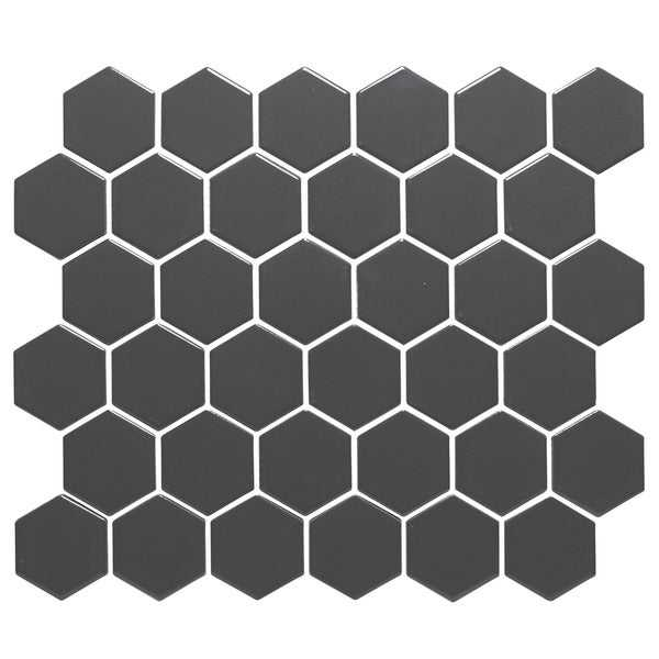 Barcelona Hexagon Glazed Porcelain Mosaic Tile Matte Gray (Case of 10 sheets / 10 sq. ft.)